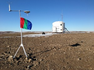FMARS hab with Mars flag in foreground